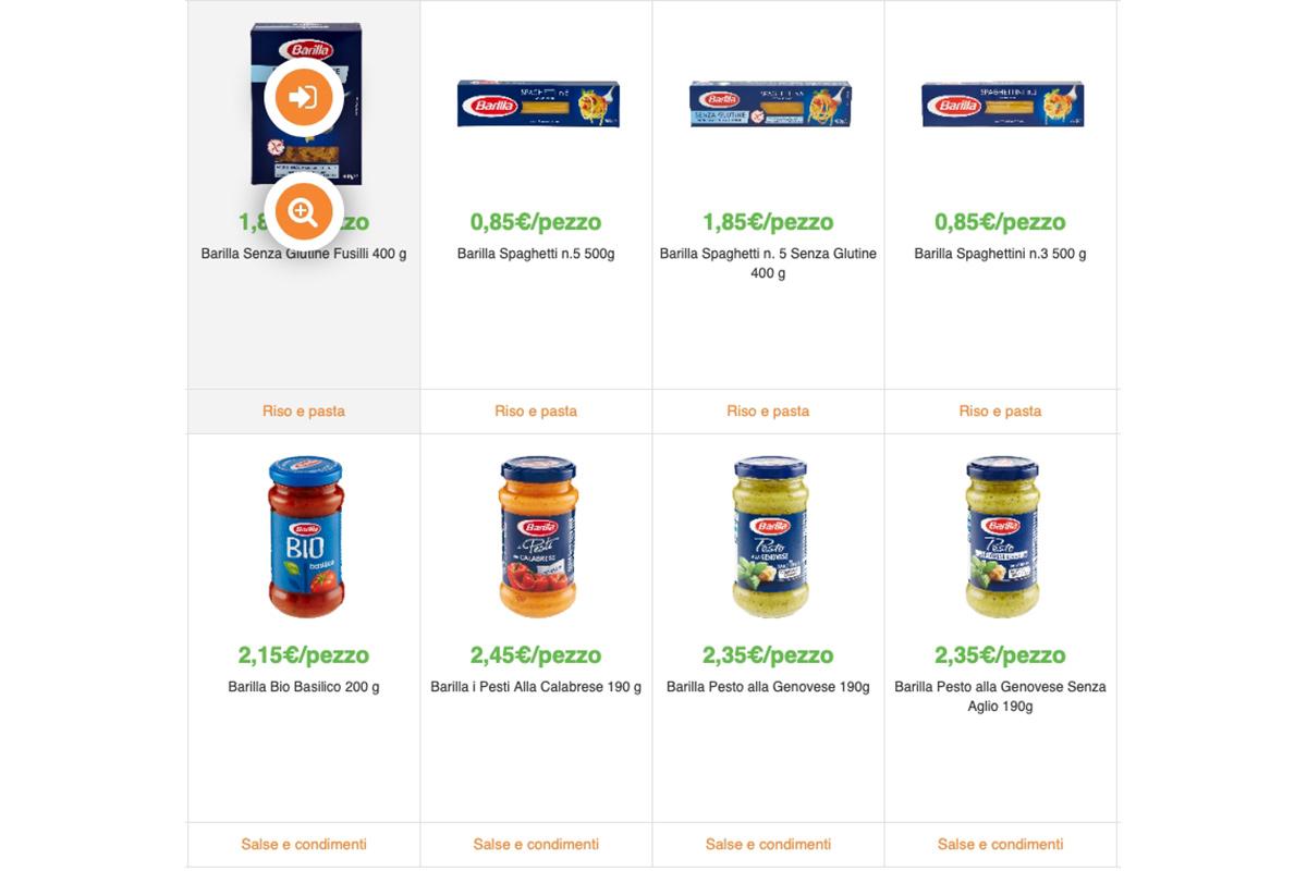 SpesaWEB elenco prodotti home page